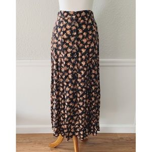 90s Vintage Floral Maxi Skirt